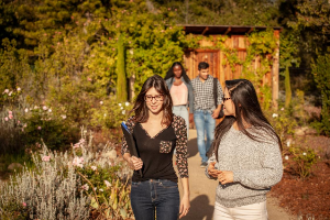 Students Walking Labyrinth on Pacifica Campus