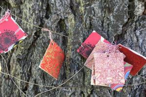 Flags along a tree
